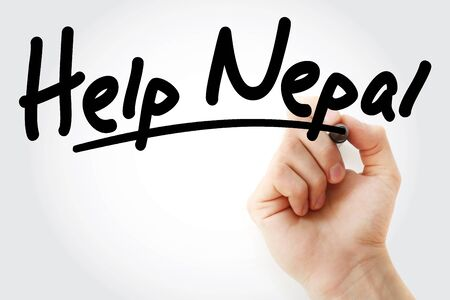Help Nepal text with marker, business concept Stock Photo