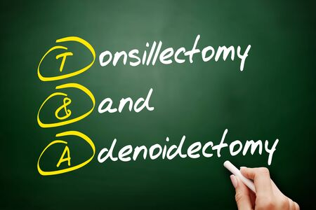 T&A - Tonsillectomy and Adenoidectomy acronym, concept on blackboard