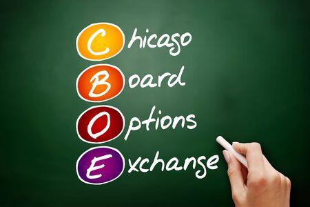 CBOE – Chicago Board Options Exchange acronym, business concept on blackboard