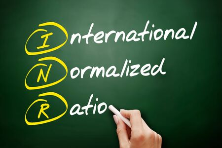 INR - International Normalized Ratio acronym, concept on blackboard 스톡 콘텐츠