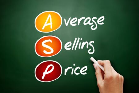 ASP - Average Selling Price acronym, business concept on blackboard