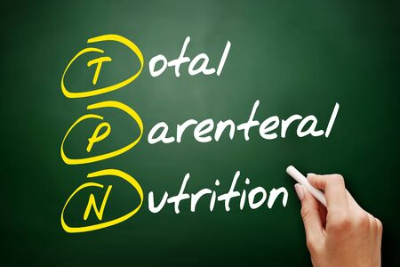 TPN - Total Parenteral Nutrition acronym, concept on blackboard