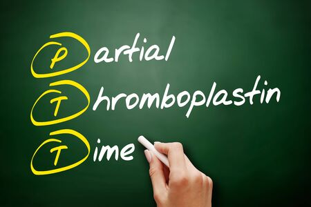 PTT - Partial Thromboplastin Time acronym, concept background Imagens