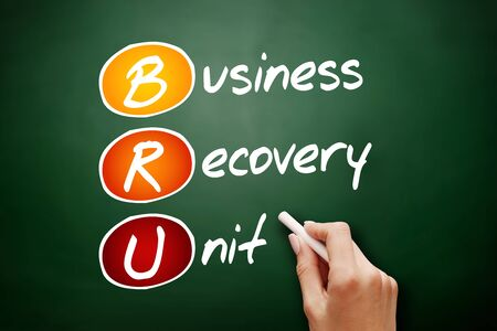 BRU - Business Recovery Unit acronym, business concept on blackboard 스톡 콘텐츠