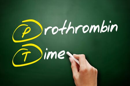 PT - Prothrombin Time acronym, concept on blackboard