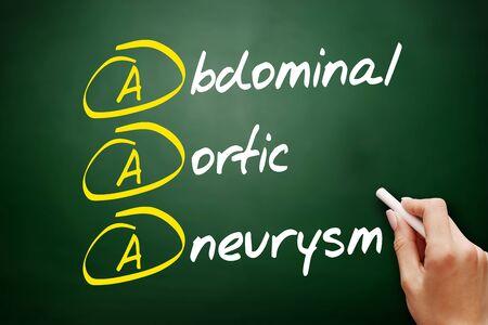 AAA - Abdominal Aortic Aneurysm acronym, concept on blackboard