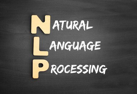 Wooden alphabets building the word NLP - Natural Language Processing acronym on blackboard