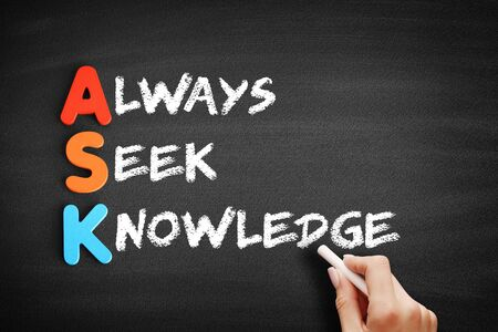 Kolorowe drewniane alfabety tworzące słowo ASK - Always Seek Knowledge akronim na tablicy