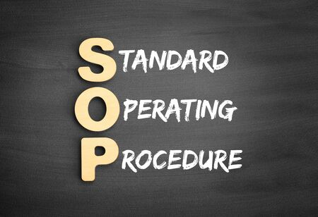 Wooden alphabets building the word SOP - Standard Operating Procedure acronym on blackboard