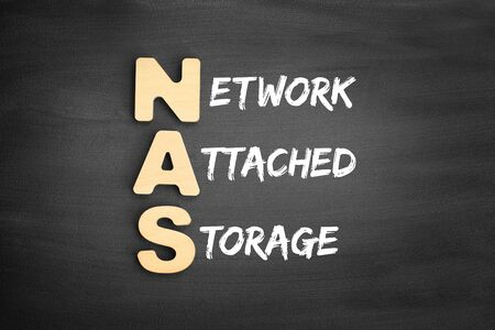 Wooden alphabets building the word NAS - Network Attached Storage acronym on blackboard