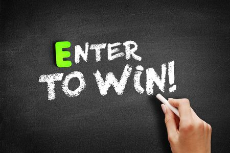Enter to win text on blackboard, education business concept background Banco de Imagens