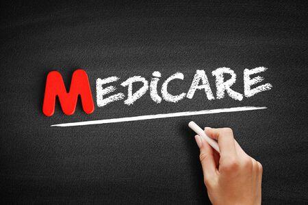 Medicare text on blackboard, business concept background