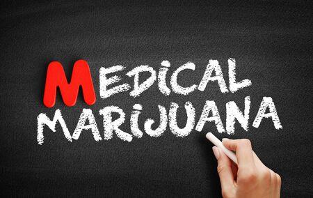Medical Marijuana text on blackboard, business concept background