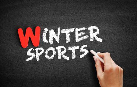 Winter sports text on blackboard, business concept background Standard-Bild - 127868385