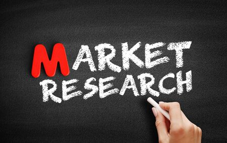 Market Research text on blackboard, business concept background