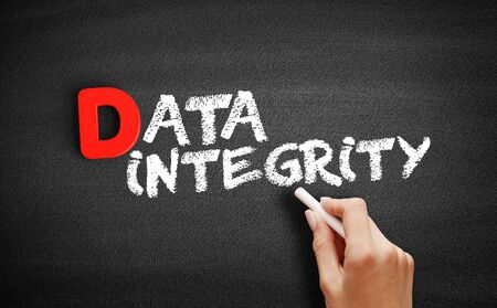 Data integrity text on blackboard, business concept background