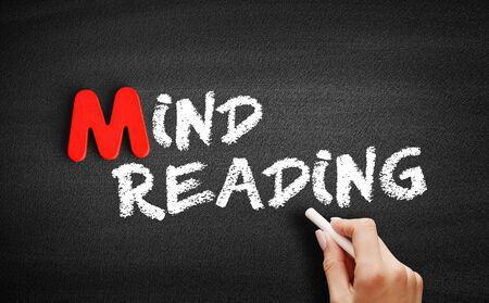 Mind reading text on blackboard, business concept background