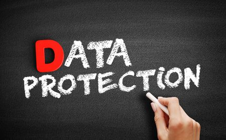 Data protection text on blackboard, business concept background