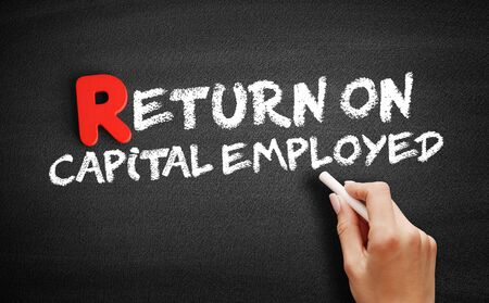 Return On Capital Employed text on blackboard, business concept background Imagens
