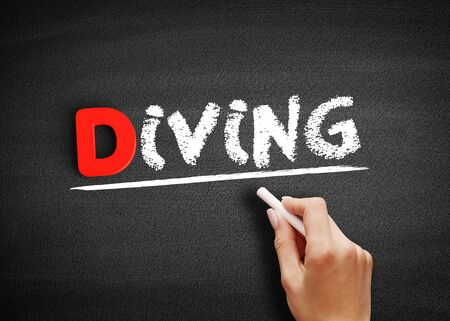 Diving text on blackboard, business concept background
