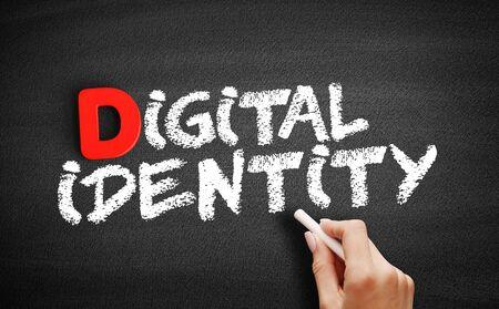Digital identity text on blackboard, business concept background