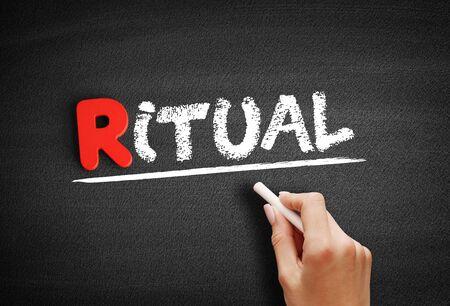 Ritual text on blackboard, social concept background Stockfoto