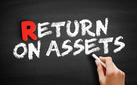 Return On Assets text on blackboard, business concept background
