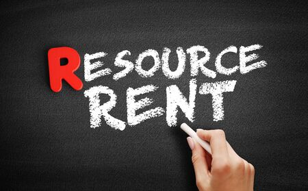 Resource Rent text on blackboard, business concept background