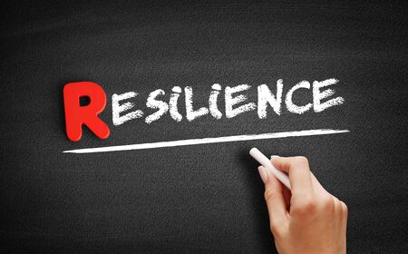 Resilience text on blackboard, business concept background