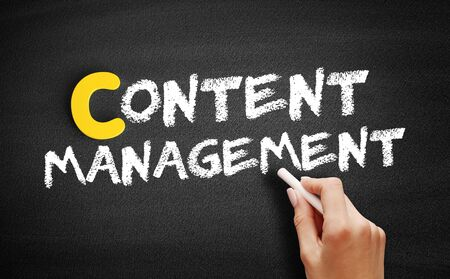 Content Management text on blackboard, business concept background