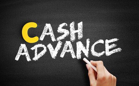 Cash advance text on blackboard, business concept background