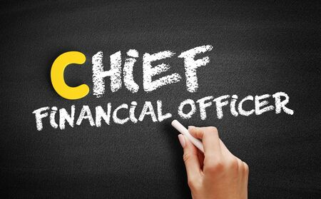 Chief Financial Officer text on blackboard, business concept background Banque d'images - 129089095