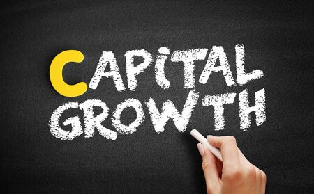 Capital growth text on blackboard, business concept background Stockfoto