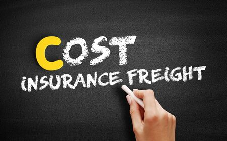 Cost Insurance Freight text on blackboard, business concept background Banque d'images - 129089265