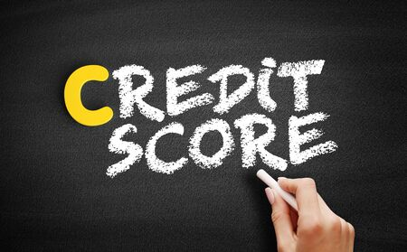 Credit Score text on blackboard, business concept background