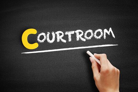 Courtroom text on blackboard, business concept background 写真素材