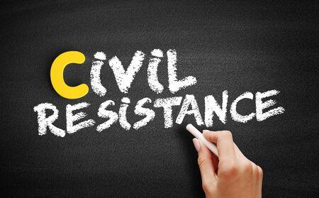 Civil resistance text on blackboard, business concept background