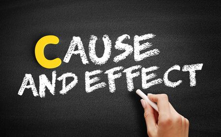 Cause and Effect text on blackboard, business concept background