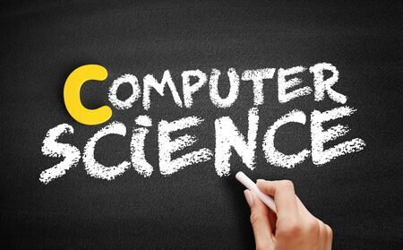 Computer science text on blackboard, concept background