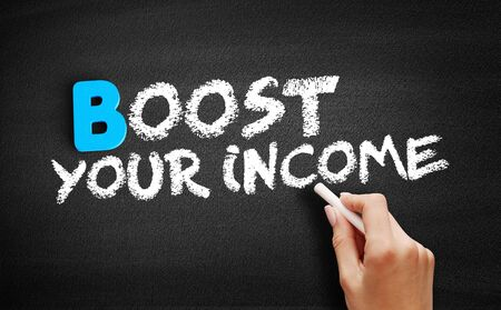 Boost Your Income text on blackboard, business concept background