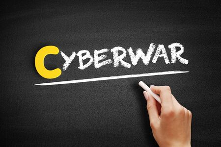 Cyberwar text on blackboard, business concept background 写真素材