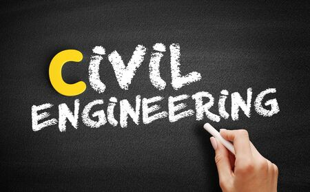 Civil engineering text on blackboard, business concept background