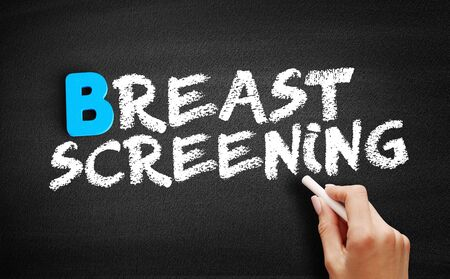 Breast Screening text on blackboard, concept background Stock Photo