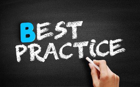 Best Practice text on blackboard, business concept background Stockfoto - 129748672