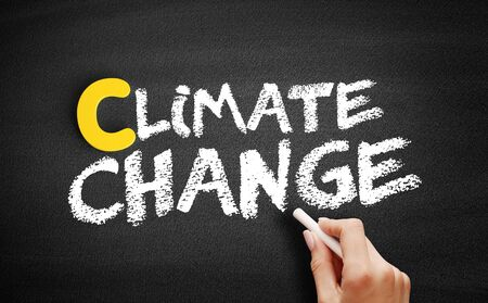 Climate change text on blackboard, business concept background