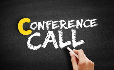 Conference Call text on blackboard, business concept background