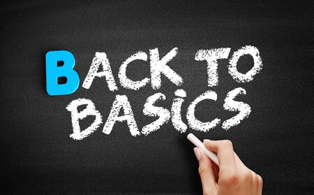 Back to Basics text on blackboard, business concept background