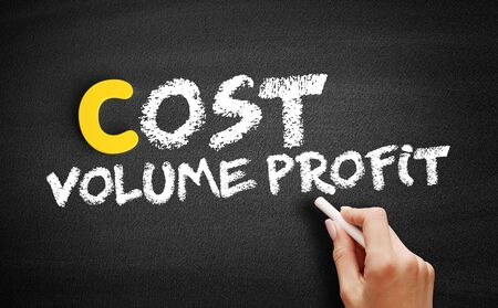 Cost Volume Profit text on blackboard, business concept background Foto de archivo