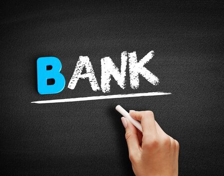BANK text on blackboard, business concept background