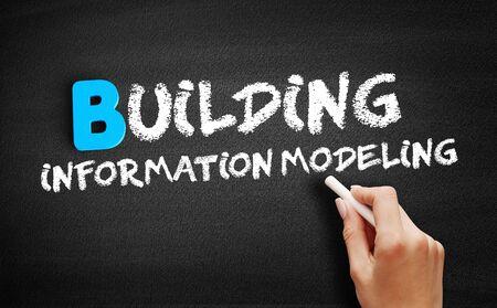 Building information modeling text on blackboard, business concept background